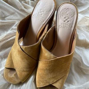 """Vince Camuto """"Jevan"""" Suede Crossover Chunky Mules"""